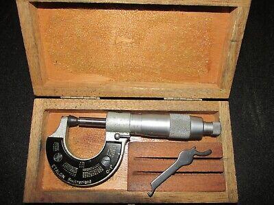 Swiss Etalon Micrometer 0-1 In Wooden Case