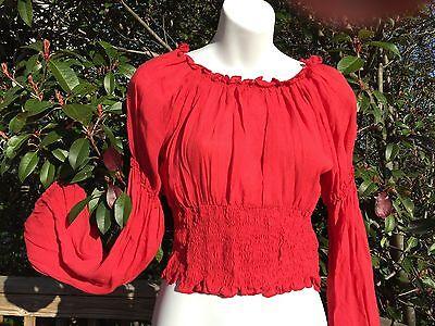 New_Romantic Renaissance Style_Peasant Boho Smocked Waist Top_Red_Beautiful ()