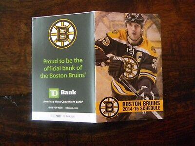 2014-15 NHL BOSTON BRUINS HOCKEY SCHEDULE  - TD BANK - JUL202 Boston Bruins Hockey Schedule