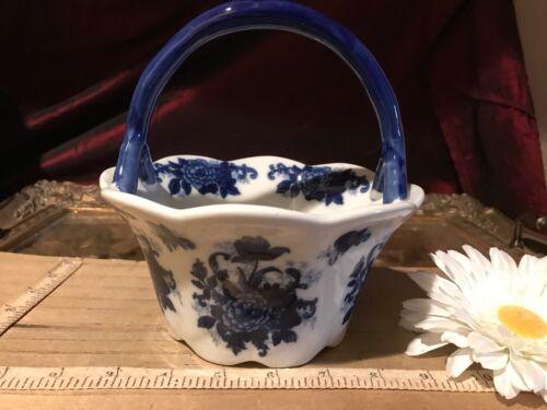 """Cracker Barrel Scalloped Blue Floral Basket w/ Handle 7""""x6"""""""