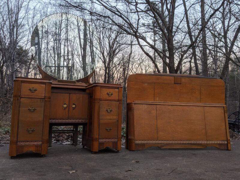 Art Deco Vanity w/ Round Mirror & Full Bed-Frame Headboard Footboard Bedroom Set