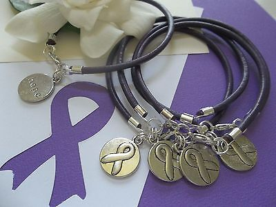 5 Pancreatic Cancer Alzheimers Lupus  Awareness  Leather Charm Bracelets