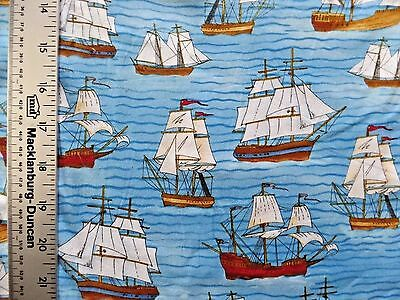 OLDTIME SHIPS  SAILBOATS ON BLUE PRINT 100% COTTON FABRIC BY THE 1/2 YARD