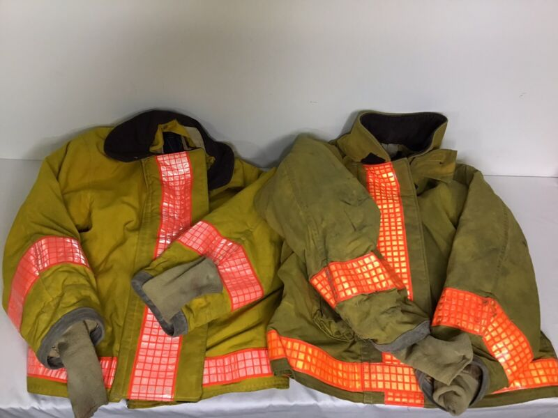 Body Guard Turnout Jackets Lot of 2 Fire Rescue Yellow Reflective Sz 40/46