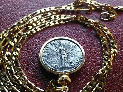"Silver Roman Empress Faustina Lady Venus Denarius Pendant on a 24"" 18KGF Chain"