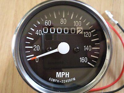 Universal Motorcycle Mini Chrome Custom Speedo Speedometer and Odometer MPH NEW