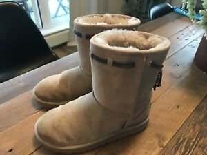 UGG Winter Boots Youth size US 2 cream with grey accent