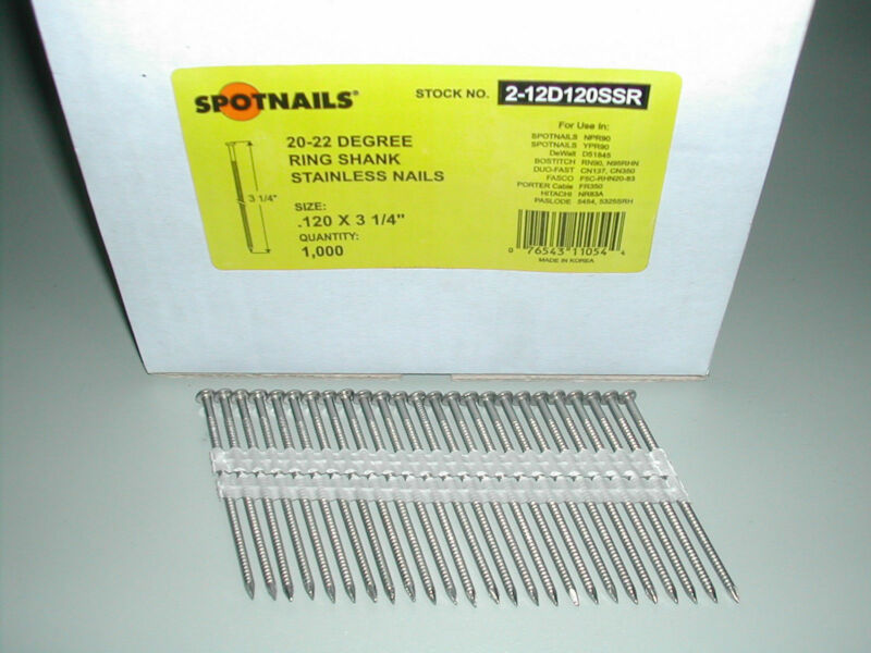 "STAINLESS STEEL12d 3 1/4"" Ring Full Round Head Nails 21 Degree (4,000)"