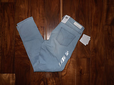 NWT Womens CALVIN KLEIN JEANS Ankle Skinny Faded Sky Light Blue Wash Size 10