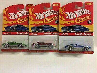 Hot Wheels Classics series 1: Corvette Stingray (Lot of 3) Green, Red & Blue
