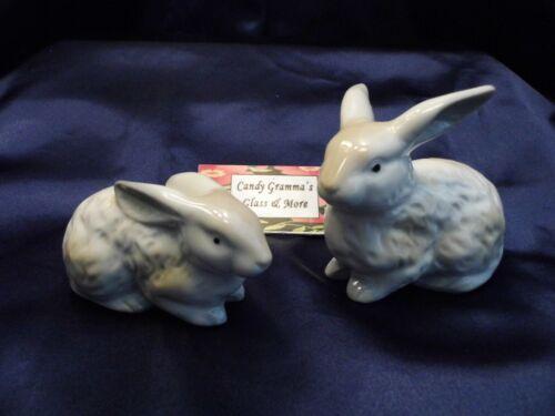 Ceramic Bunny Rabbit Figurine Easter Set of Two