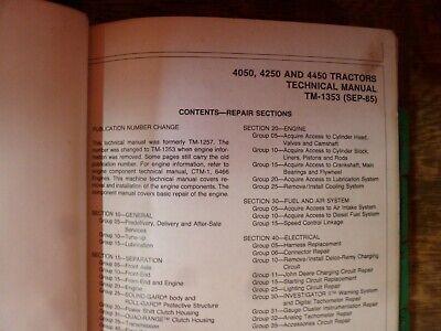 John Deere 4050 4250 4450 Tractor Shop Service Repair Technical Manual Tm-1353
