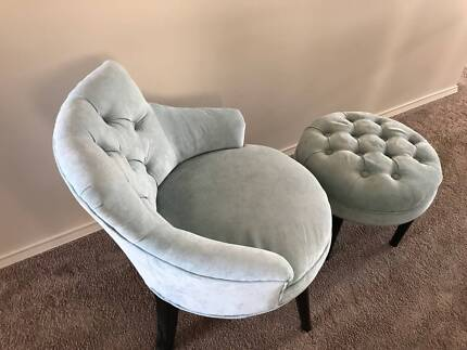 French Style Wing Chair Back & Ottoman
