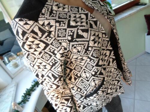ONLY 40kurz Jacke Blazer Strick Aztekenmuster Ethno Norweger Muster schwarz/weiß