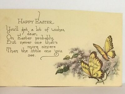 PostCard Happy Easter Poem Butterflies Posted USA Made 2-2?-1922 Vintage