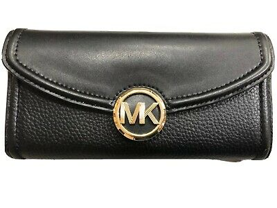 Michael Kors Fulton Carryall Continental Flap Clutch Wallet Black & Gold $198