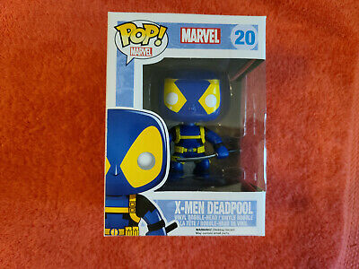 Funko Pop Marvel Deadpool w/ Gun & Sword Blue Yellow #20 Vaulted