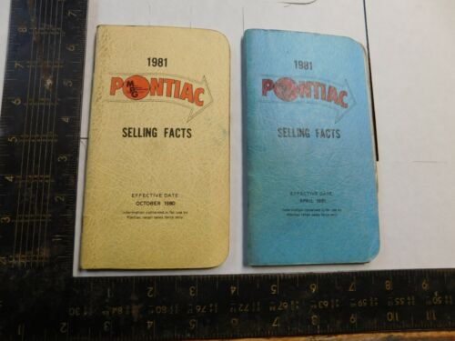 1981 PONTIAC SELLING FACT  BOOKLET  LOT OF 2