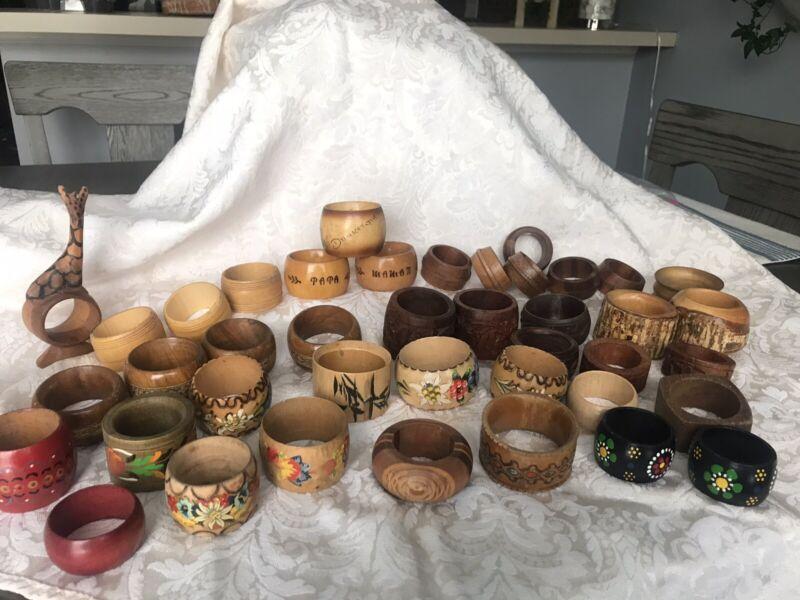 Large Lot Of All Wood  & Varieties Of Teak & Dansk Napkin Rings Hand Painted