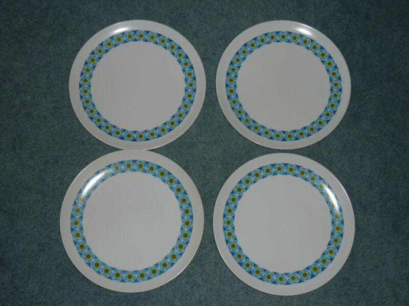Vintage Set of 4 Texas Ware Picnic Plates Blue Green Melmac Melamine