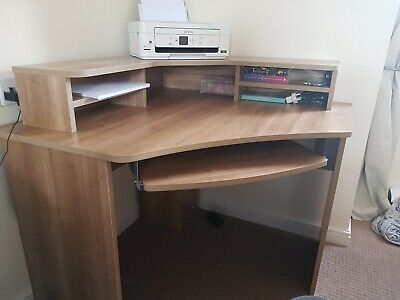 Wooden Office Corner Desk with Shelves