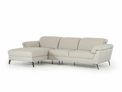 NEW Modern Sectional Furniture Gray Eco Leather Living Room Sofa Chaise Set IGV5