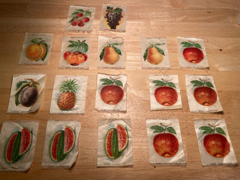 Lot (17) Early Vintage Nebo Cigarette Tobacco Silks FRUIT Watermelon Apple Etc.