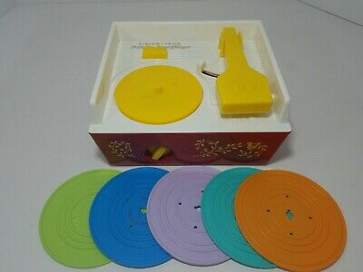 2014 Vintage Look Fisher Price Music Box Record Player w/ All 5 Original Records