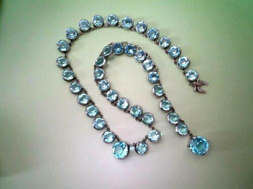 Antique Victorian Sterling Silver Aqua Blue Paste Riviere Necklace