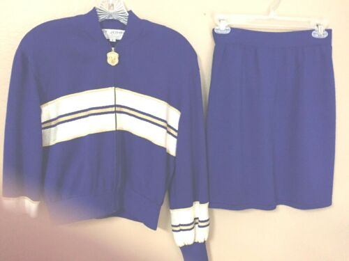 ST JOHN Collection Sz P 6 Royal Blue Gold Cream Zip Jacket and Short Skirt Small