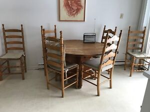 Pine Kitchen table with six ladder back chairs