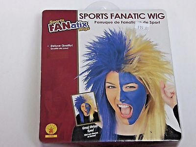 Deluxe Blue & Blond Sports Fan Wig Halloween Costume Rubies Trick Or Treat - Halloween Sports Fan