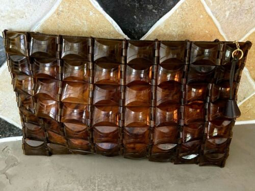 Vintage Lucite Panel Handbag Purse Faux Tortoise Shell Clutch (*33)