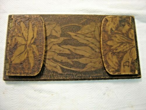 Antique~ Salvage ~ Pyro Art ~ Pyrography Folding Book Holder ~ Poinsettia 1626
