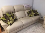 Cream leather sofa. Three seater. North Melbourne Melbourne City Preview