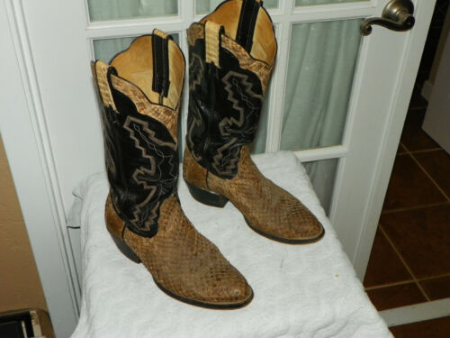 Unbranded, Mens, Genuine, Snakeskin, &, Black, Leather, Cowboy, Western, Boots, sz, 8.5, D