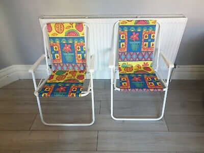 Vintage retro Folding Garden Deck Chairs fruit theme x 2 camping VW camper retro