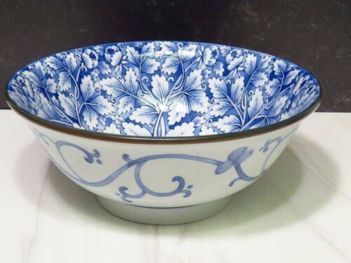 """Lg Japanese Blue White Footed Flared Serving Bowl 8.5"""" Porcelain Mum Chinoiserie"""