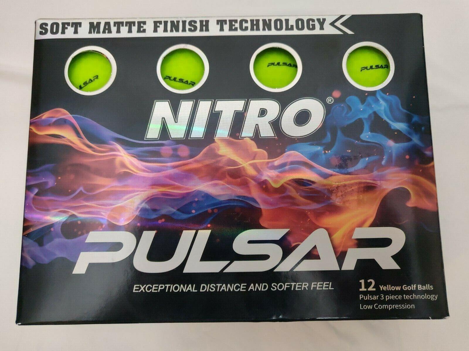 NEW Nitro Pulsar 12 Yellow Soft Matte Finish Golf Balls - Sh