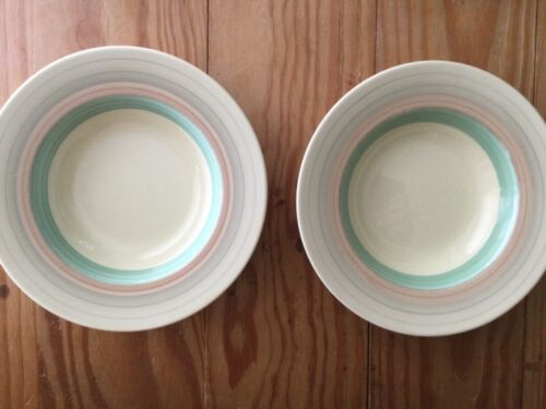 "Lot of TWO: SUSIE COOPER Wedding Rings Tan & Green 8"" Diameter BOWLS  ENGLAND"