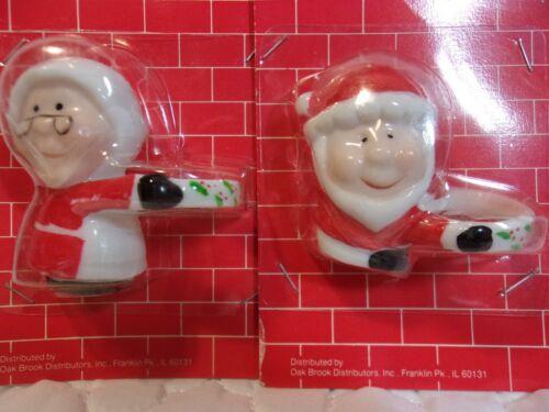 Vintage Santa & Mrs Ceramic Christmas Candle Hugger Climbers  NIP