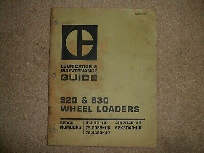 Caterpillar 920 930 Wheel Loaders Lubrication Maintenance Guide Cat Geg02135
