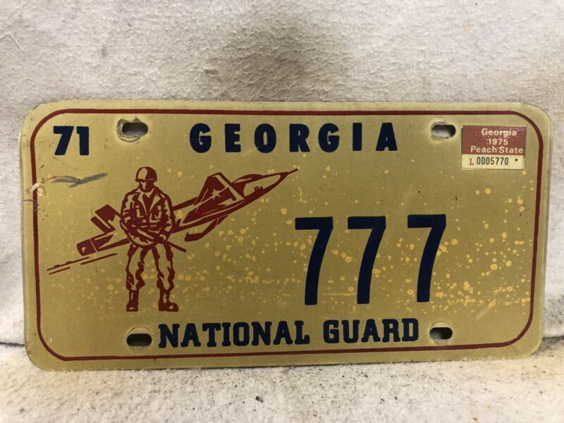Vintage 1971 Georgia National Guard License Plate (#777)