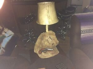 Driftwood Lamp with Authentic Skin Shade