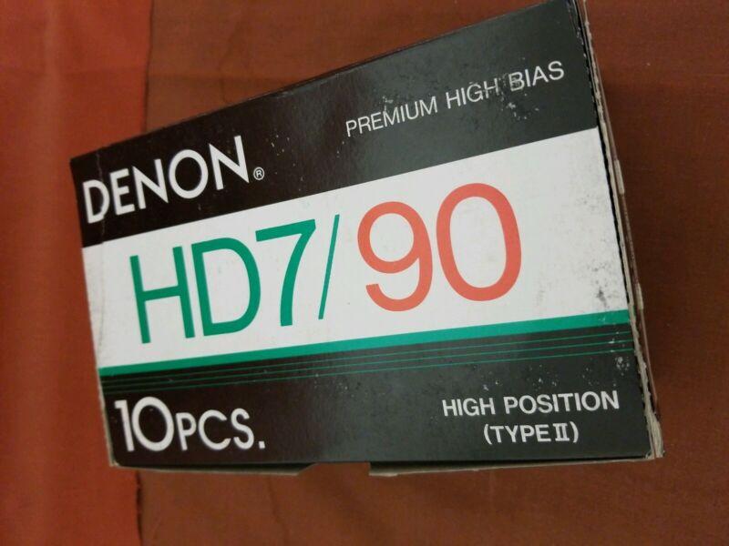 Box Of 10 Denon HD7-90 hi bias Audio Cassette Tapes Vintage NOS