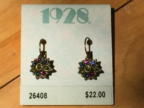 Vintage signed 1928 Brand Antique Gold Tone & Colored Stones Pierced Earrings