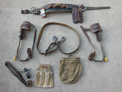 R. H. Buhrke Complete Linemans Pole Climbing Gear W Belt Spikes Acces. Bell
