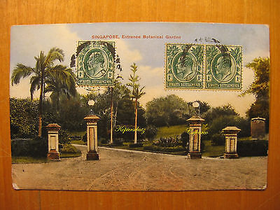 1912 alte AK PC Singapore Entrance Botanical Garden Singapur