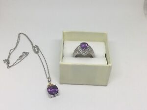 Sterling silver Amethyst ring with white Topaz and necklace.