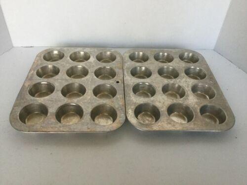 Vintage Aluminum Muffin Cupcake Pans 12 small wells Kitchen Decor set of 2 GUC